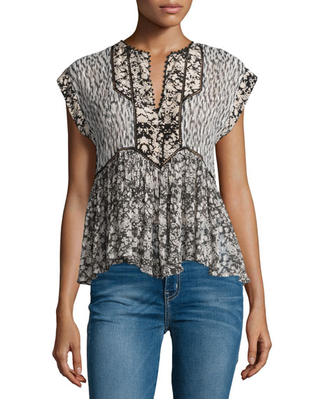 Rebecca Taylor Cap-Sleeve Multipattern Silk-Blend Top, Chalk/Multicolor