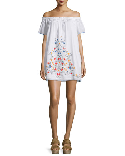 Montorosso Off-The-Shoulder Embroidered Coverup Dress