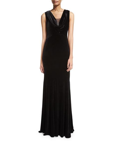 ZAC Zac Posen Jordana Bead-Neck Velvet Gown