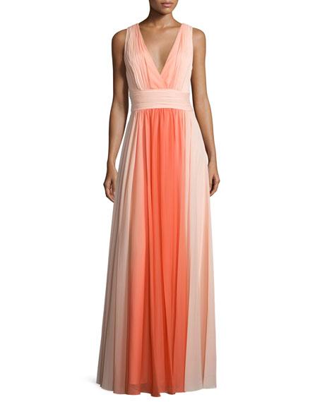 Halston Heritage Sleeveless Ombre Long Dress, Glow Circular