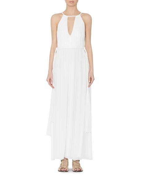 Nomi Sleeveless Pleated Maxi Dress, White