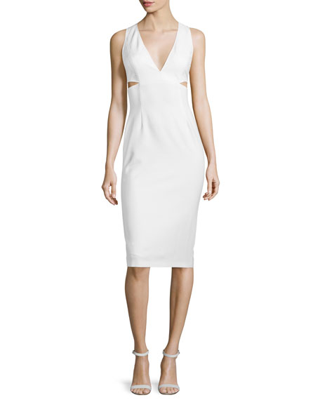 Alice   Olivia Riki Cutout Leather Midi Dress, White
