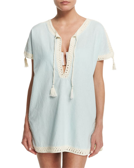 Tory Burch Nerano Crocheted Linen Tunic Coverup with