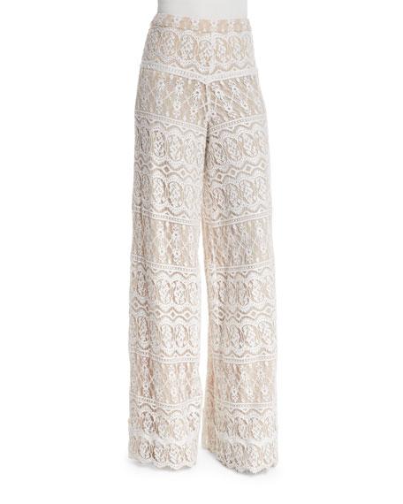 Alice + Olivia Athena Lace Super-Flared Pants, Cream