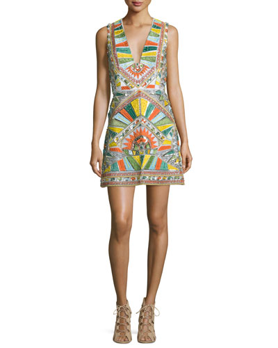 Natali Sleeveless Sequined Racerback Dress, Multicolor