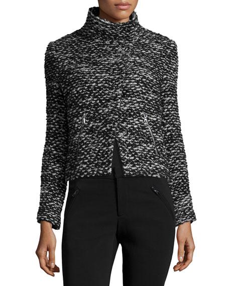 Rebecca Taylor Cropped Tweed Jacket, Black/White