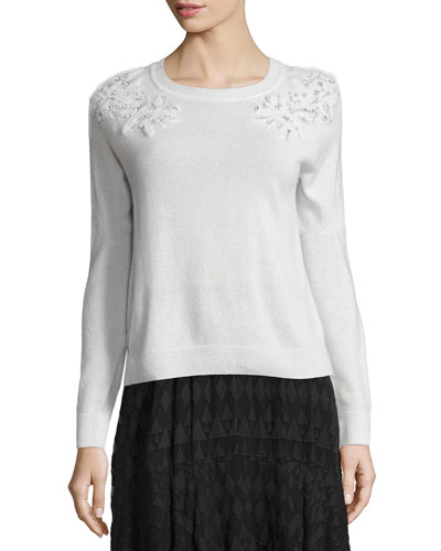 Snow Crystal Pullover Sweater, White