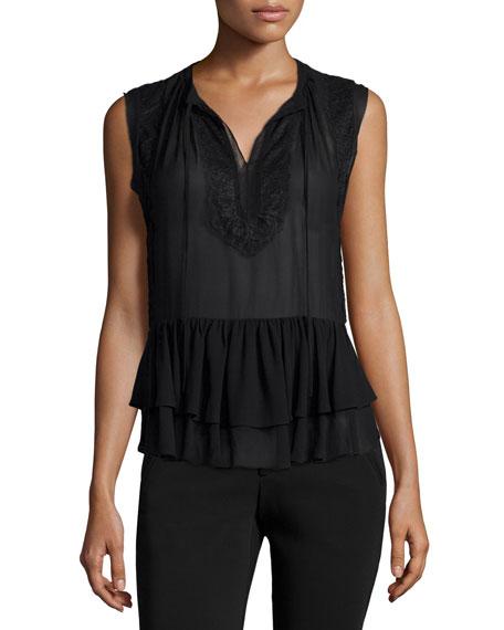 Rebecca Taylor Sleeveless Lace-Trim Silk Top, Black