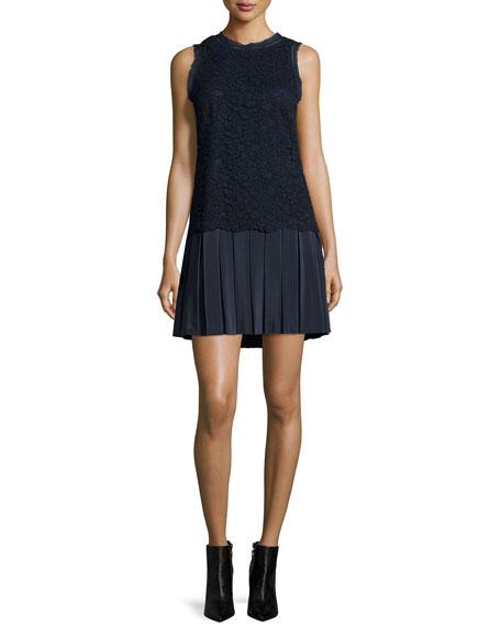 Rebecca Taylor Sleeveless Lace Combo Dress, Navy