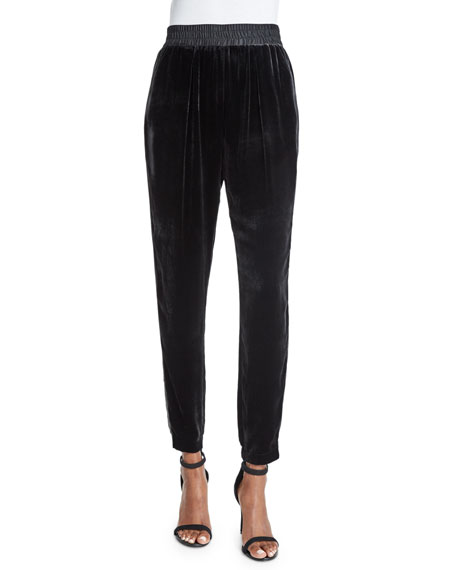 Velvet Slim-Fit Pants, Black