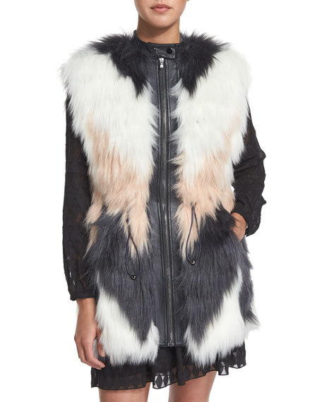 Rebecca Taylor Faux-Fur Chevron Vest, Pink/White/Black