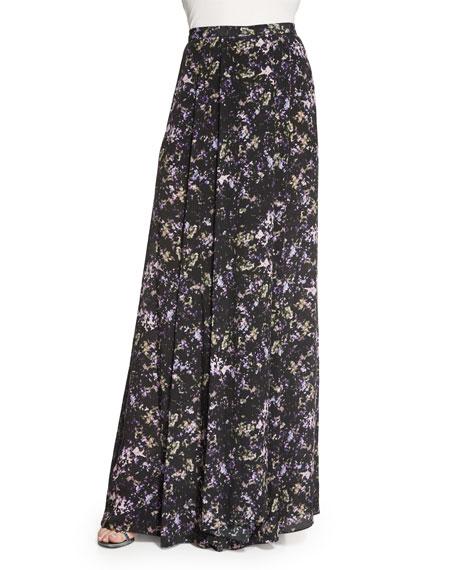 ZAC Zac Posen Harriet Long Pleated Printed Silk