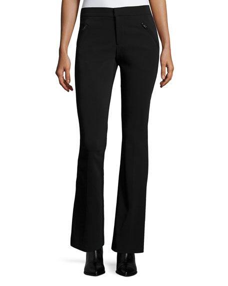 Rebecca Taylor Techy Slim-Fit Boot-Cut Pants, Black