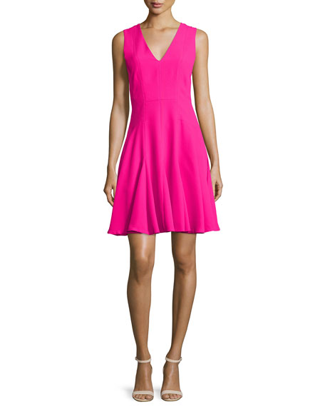 Rebecca TaylorSleeveless Crepe A-Line Dress, Orchid Pink