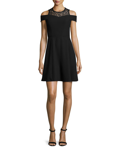 Rebecca Taylor Lace-Trim Ponte A-Line Dress, Black