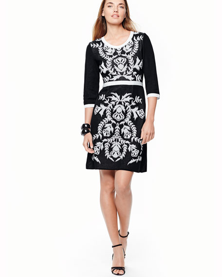 3/4-Sleeve Damask-Pattern Dress, Plus Size