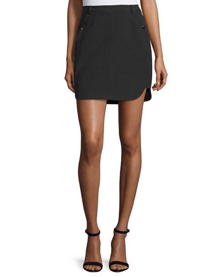 Halston Heritage Mid-Rise Mini Skirt, Black
