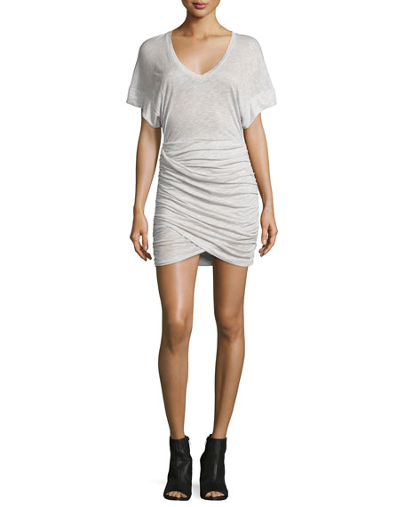 IRO Ginger Ruched Jersey Dress, Off White/Beige
