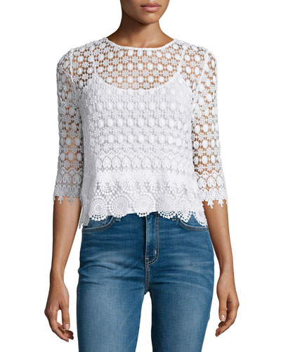 Ailley 3/4-Sleeve Macrame Top, Off White
