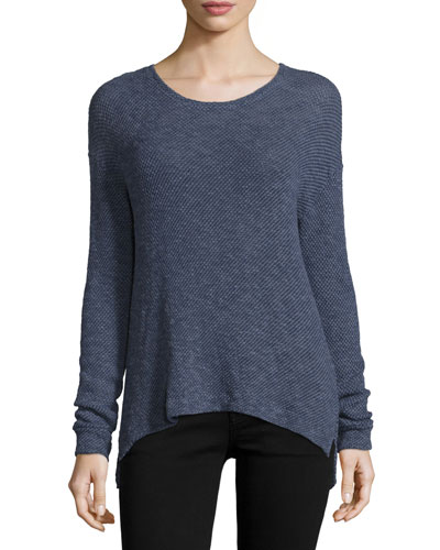 Chutney Long-Sleeve Textured Top, Night