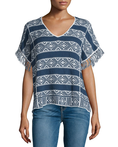 Karissa Short-Sleeve Striped Top, Indigo