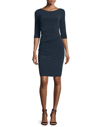 Margarita 3/4-Sleeve Sheath Dress, Midnight