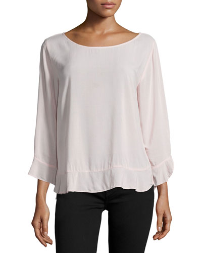 Mira Bracelet-Sleeve Round-Neck Top, Pale Pink