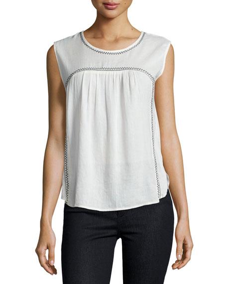 Velvet Asera Sleeveless Round-Neck Top, Off White