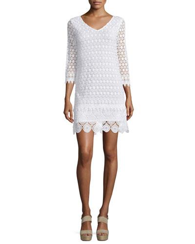 Gita 3/4-Sleeve Macrame Dress, Off White