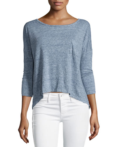 Javeline Long-Sleeve Arched-Hem Top, Blue