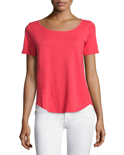 Zima Short-Sleeve Round-Neck Tee, Cherry