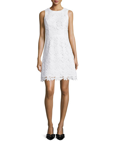 sleeveless lace a-line dress, fresh white