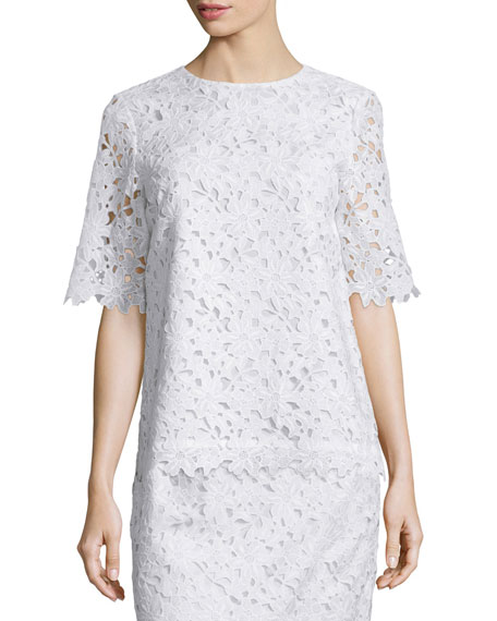 kate spade new york floral lace short-sleeve top