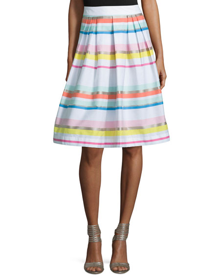 kate spade new york ribbon striped pleated skirt
