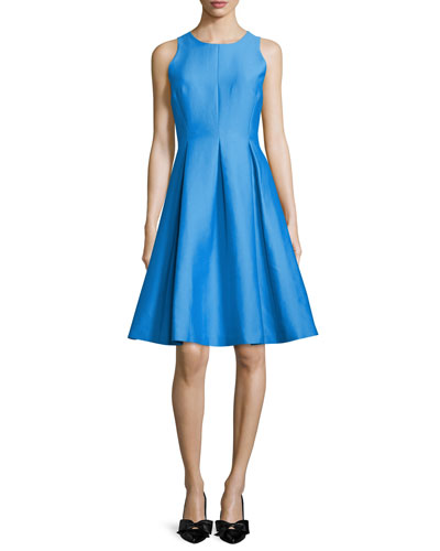 sleeveless fit-and-flare dress, alice blue