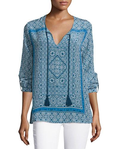 Virginia Long-Sleeve Printed Tunic, Navy, Women's