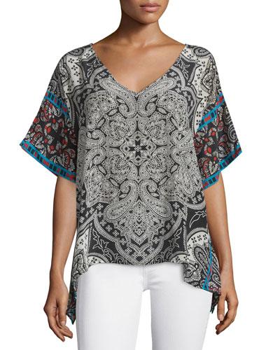 Briyanna Printed Silk Caftan Top, Black, Women's