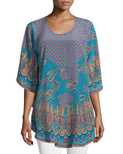 Cathi Paisley-Print Flutter Easy Caftan Tunic