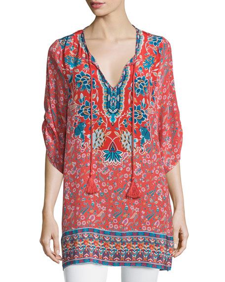 Tolani Sandy Long Printed Silk Tunic, Coral, Plus