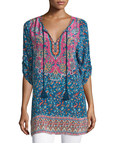 Tolani Sandy Long Printed Silk Tunic, Denim, Plus