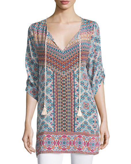 Tolani Nicola Long Printed Silk Tunic, Ivory