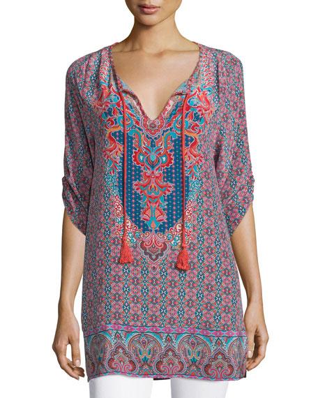 Tolani Anna Long Printed Silk Tunic