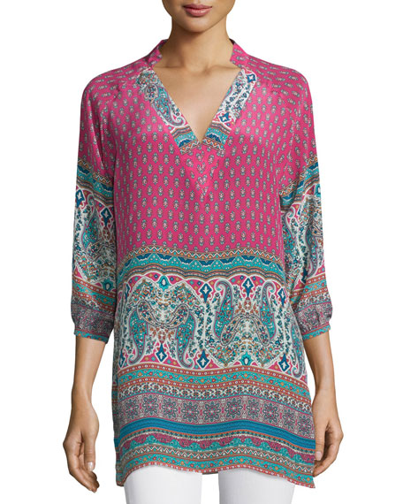 Tolani Nisha 3/4-Sleeve Printed Tunic, Plus Size