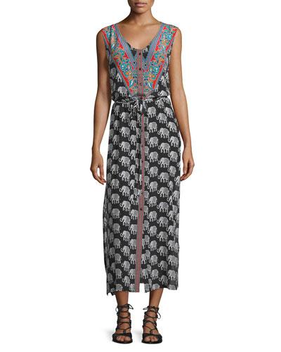 Gemma Sleeveless Elephant-Print Dress, Women's