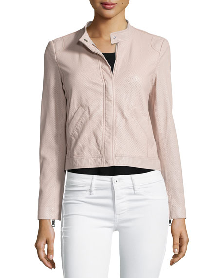 Rebecca Taylor Perforated Leather Motorcycle Jacket, Sheer Pink