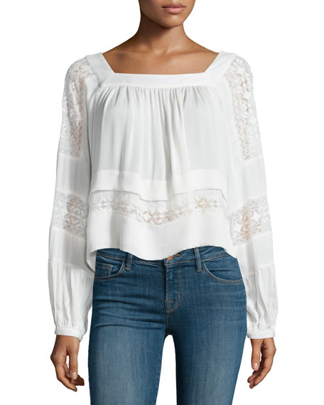 Rebecca Taylor Long-Sleeve Embroidered Chiffon Top, Snow