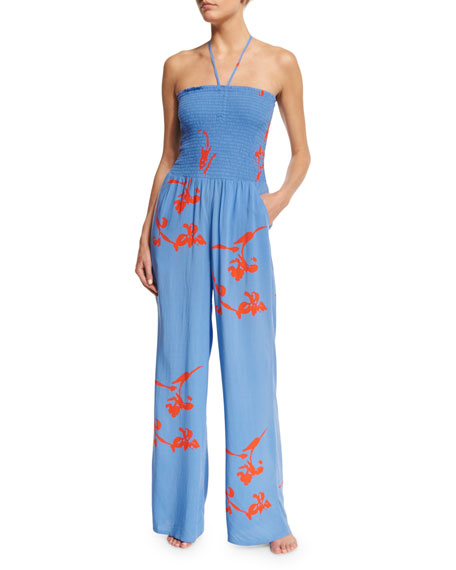 Tory Burch Talisay Floral-Print Jumpsuit Coverup, Dusk Blue