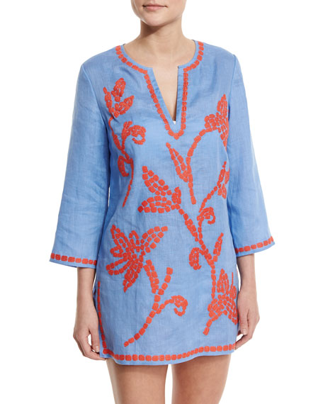 Tory Burch Talisay Embroidered Linen Coverup Tunic, Blue/Poppy