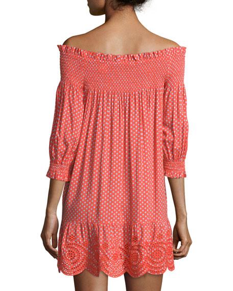 Myra Smocked Off-The-Shoulder Coverup Dress