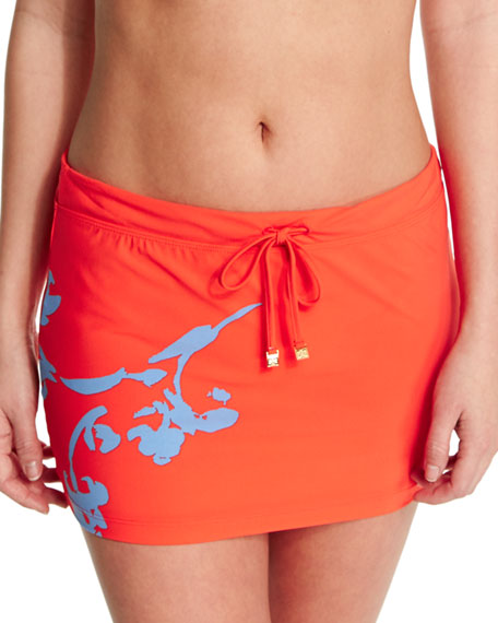 Tory Burch Talisay Printed Swim Skirt, Poppy Red